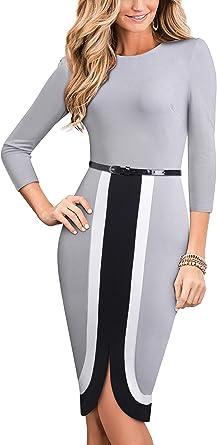 HOMEYEE B529 Vestido elegante sin mangas para mujer