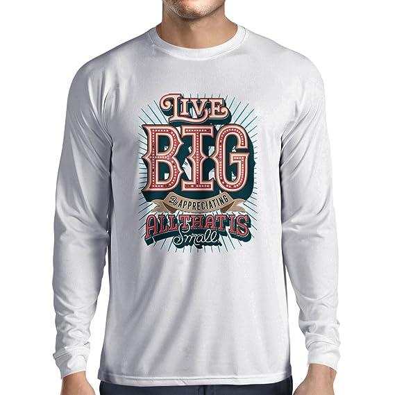 lepni.me Camiseta de Manga Larga para Hombre Live Big - Las Frases de Motivación Famosas: Amazon.es: Ropa y accesorios