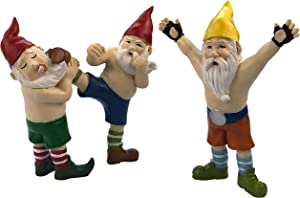 By Mark & Margot Garden Gnomes MMA Kick - Best Outdoor Office Home Funny Decor