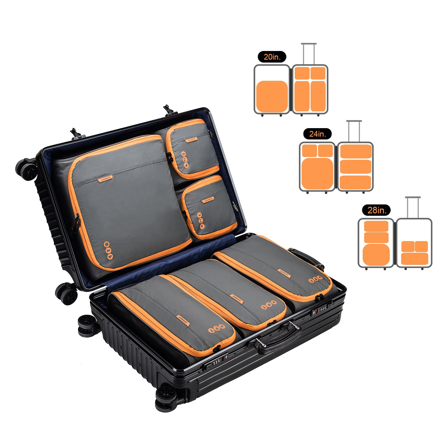 BAGSMART 6 Sets Packing Cubes 3 Sizes Portable Travel Luggage Organizer for Carry-on Accessories by BAGSMART (Image #2)