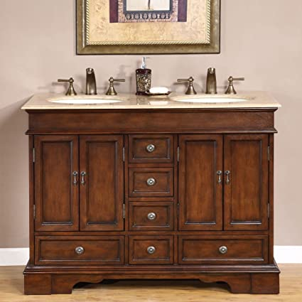Silkroad Exclusive Compact Travertine Stone Top Double Small Sink Bathroom  Vanity With Cabinet, 48