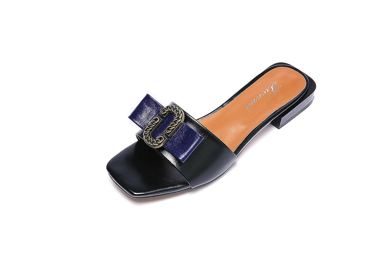 Sandalias de Mujer bajo talón, Zapatillas 36 EU Negro