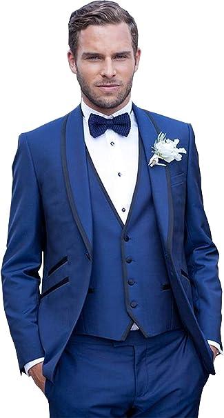 Amazon.com: newdeve 3 piezas azul marino de los hombres Boda ...