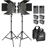 Neewer Bi-color LED 660 Video Light and Stand Kit with Battery and Charger for Studio, YouTube Video Shooting, Durable Metal Frame, Dimmable with U Bracket and Barndoor, 3200-5600K, CRI 96+ (2 Pack)