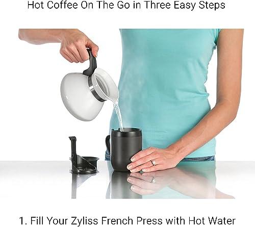 """Zyliss Hot Mug Travel French Press, 5"""" (12 oz.), Black Model"""