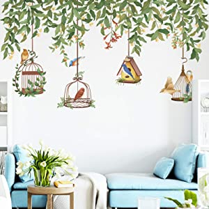 Flower Vine Tree Branch Wall Decals with Birdcage, Colorful Birds Green Plants Wall Stickers, Flowers Flying Bird DIY Art Murals for Bedroom Living Room Kids Rooms Nursery Wall Décor