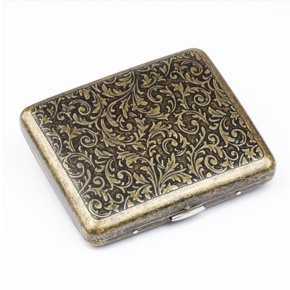 Vintage Metal Cigarette Case Stash Box, Double Sided Flip Open Pocket Tobacco Storage Case - Hold 20 Regular Size Cigarettes (Gold) by Meelife