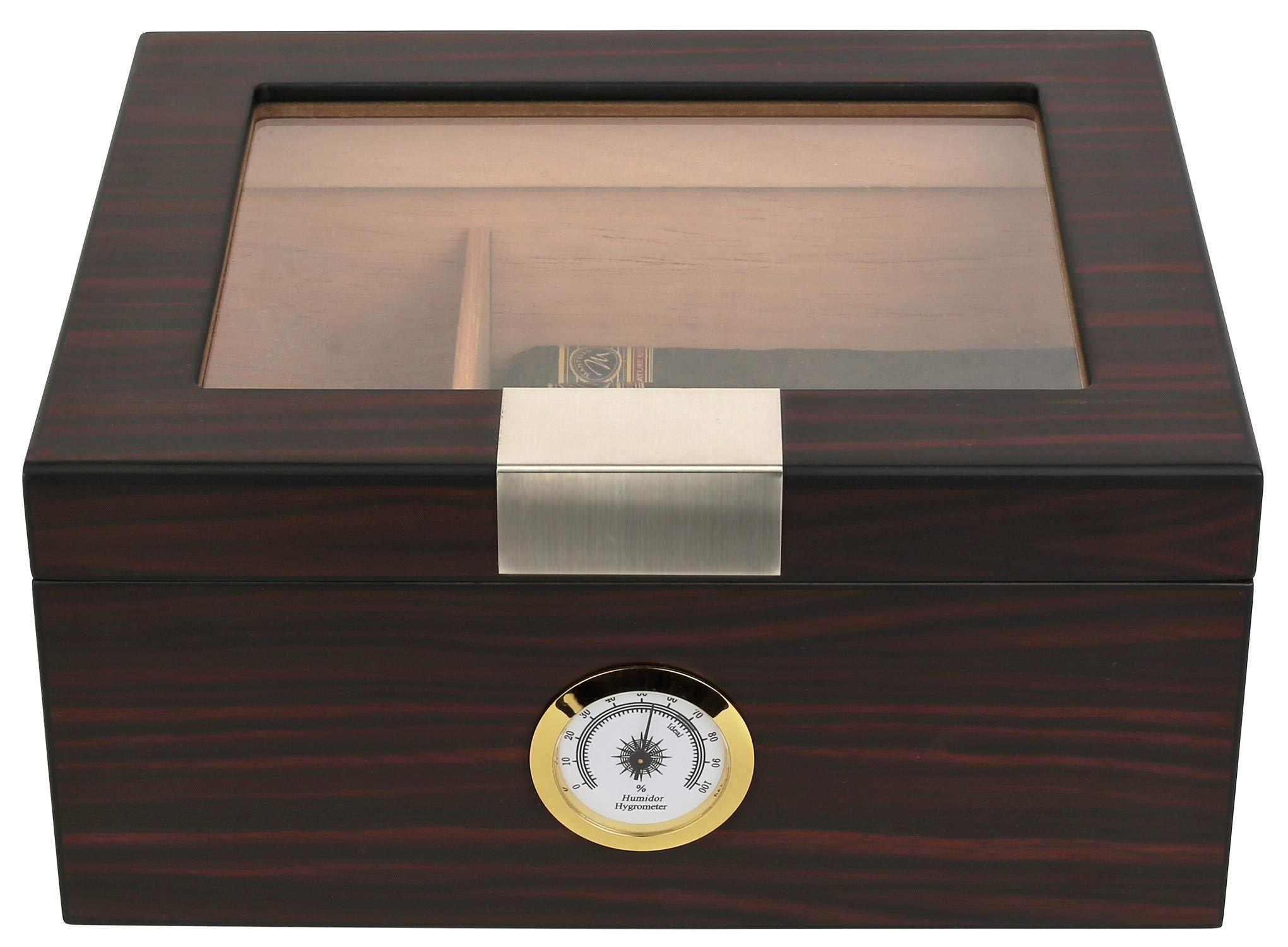 Mantello 25-50 Cigar Humidor with Tray Divider for 2-Way Humidity Packs, Ebony Glass Top by Mantello Cigars