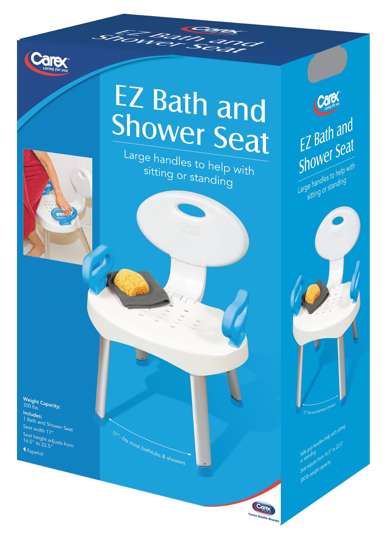 Carex Health Brands E-Z Bath And Shower Seat with Handles for Assistance in Bath or Shower, Adjustable Height, Sturdy Frame Supports Up to 300 Pounds, Safe Entry and Exit from Bath by Carex Health Brands (Image #2)