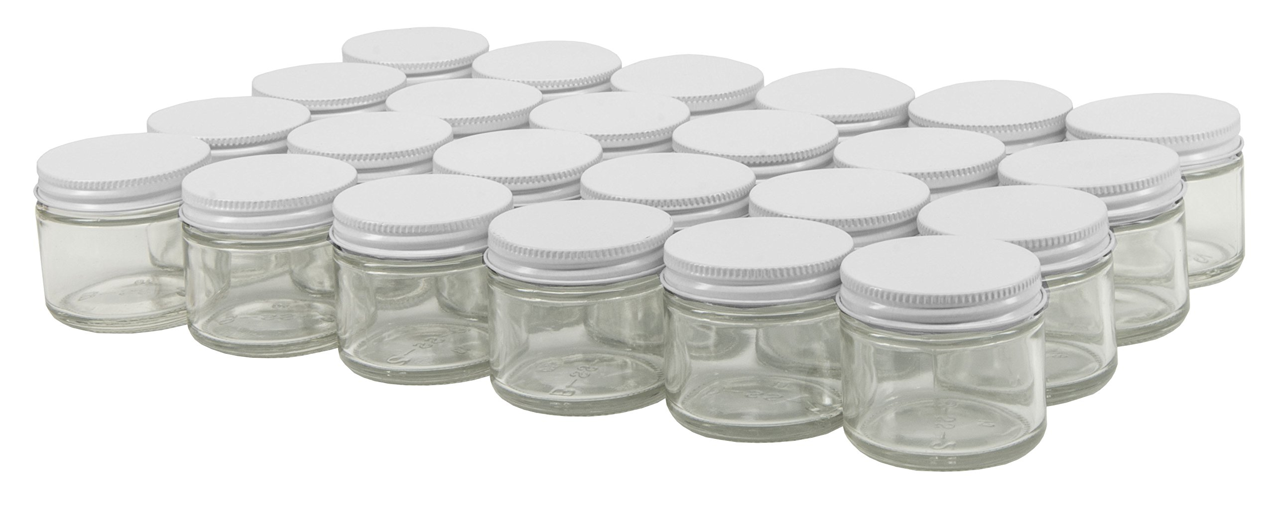 North Mountain Supply 2 Ounce Glass Straight Sided Spice/Canning Jars - With 53mm White Lids - Case of 24
