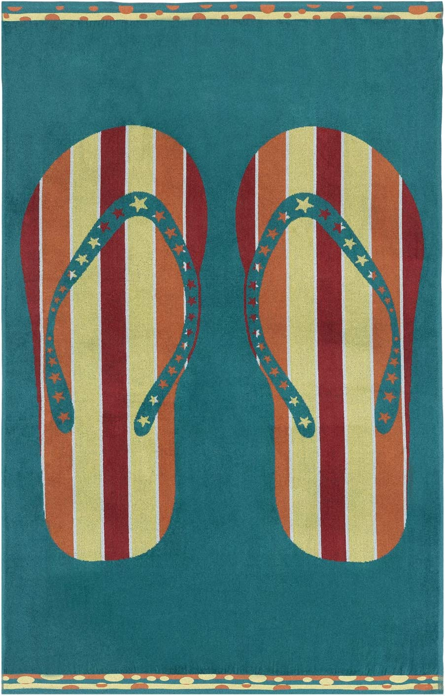 Espalma Oversized Luxury Flip Flops Sandals Beach Towel, Large Size 70 Inch x 40 Inch Soft Velour and Reversible Absorbent Cotton Terry, Thick and Plush Jacquard Beach Towel, Flip Flops