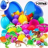 Sizonjoy Toys Filled Easter Eggs, Prefilled Surprise Eggs with Small Dinosaur Toys Inside for Easter Hunt Event, Basket Stuf