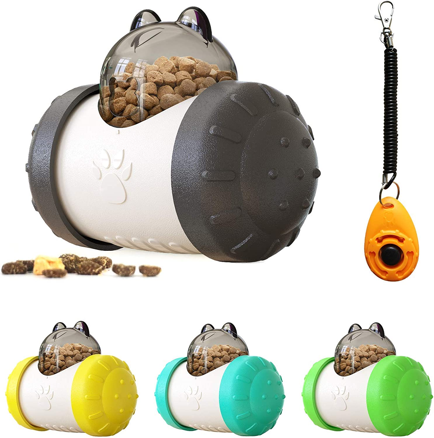 Treat Dispensing Dog Toys,Cat Enrichment Feeder Toys,Distraction Toys for Dogs with Friendly ABS Material,Swing Bear Treat Dispensing Ball Black +White