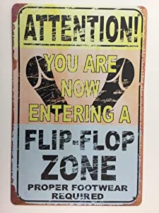 Beach Sign. Attention! Flip-Flop Zone Proper Footwear Required ,Bar Pub Garage Diner Cafe Home Wall Decor Home Decor Art Poster Retro Vintage, TS242