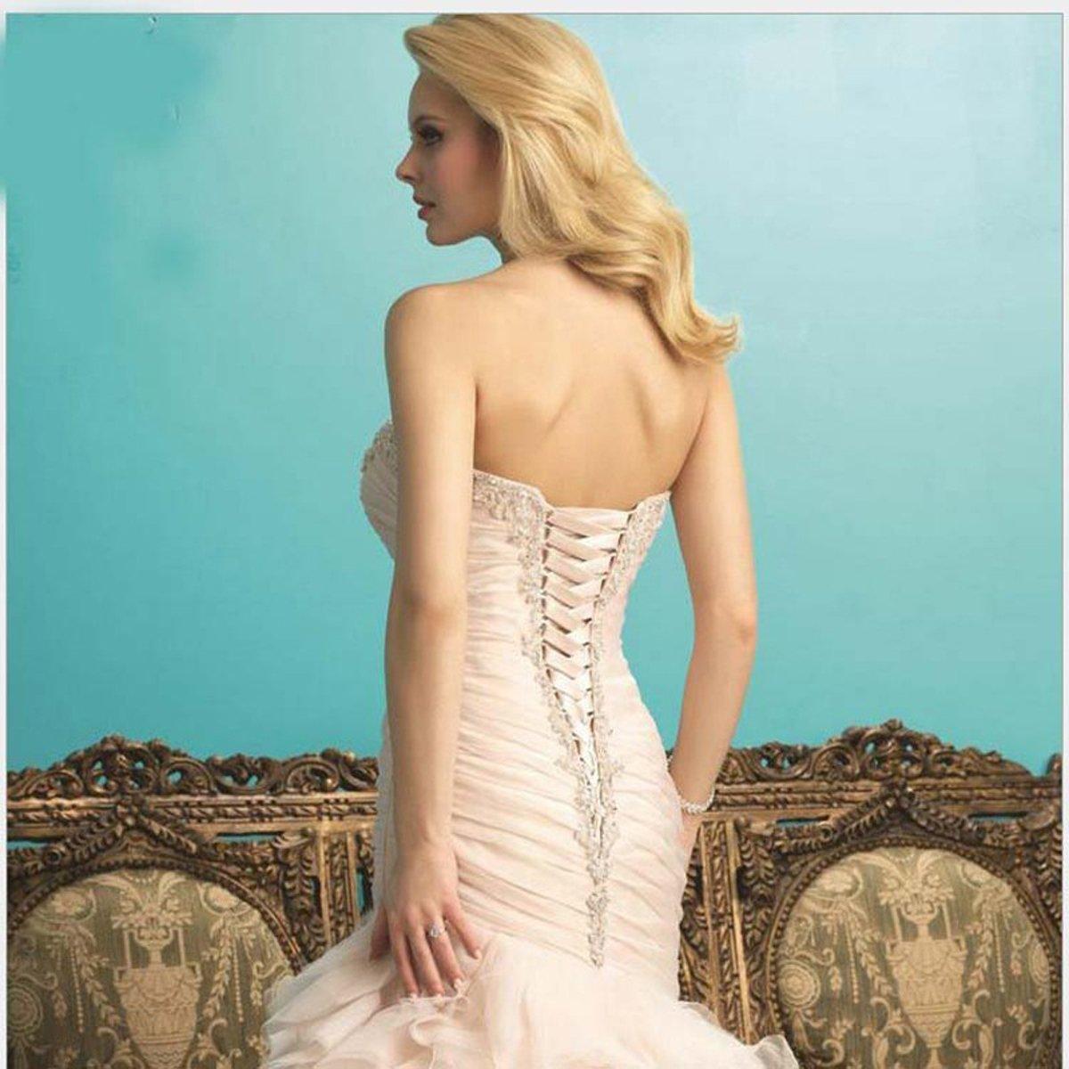 Angel Formal Dresses Women's Sweetheart Applique Beaded Mermaid Ruffles Tulle Wedding Dresses Gown(18,Ivory) by Angel Formal Dresses (Image #3)