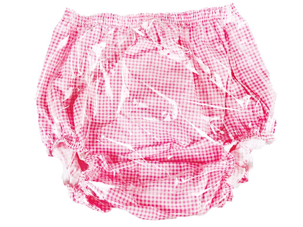 Haian Adult Incontinence Pull-on PVC & Cotton Pants (Medium, Pink Gingham Print Cotton)