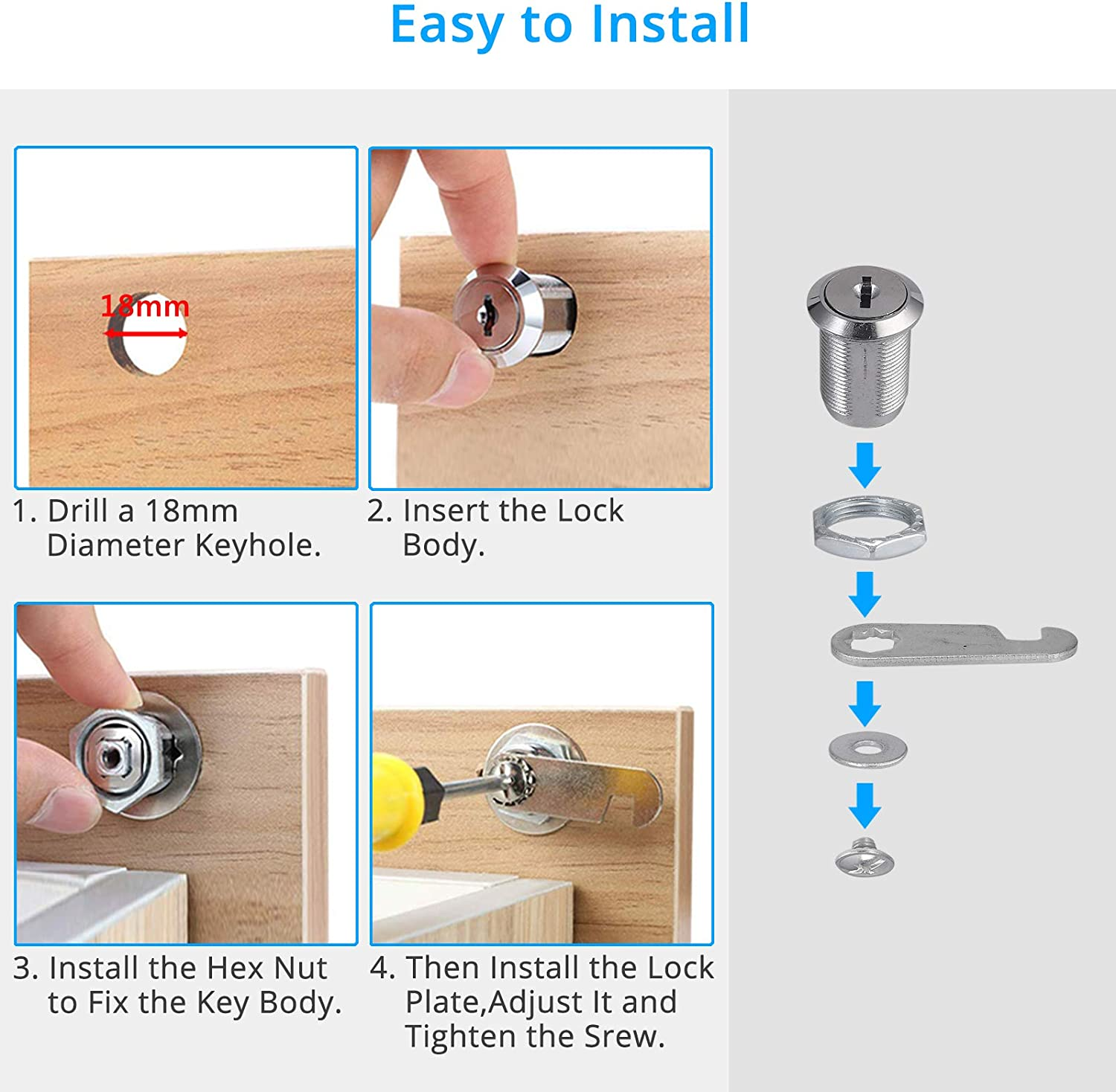Keyed Alike Cabinet Lock Cam Lock Replacement Cabinet Secure Lock for Door Cabinet Mailbox ect Fugen 4pcs 25mm Cam Lock