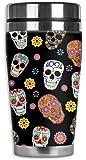 Mugzie Sugar Skull Toss Travel Mug with Insulated Wetsuit Cover, 16 oz, Black