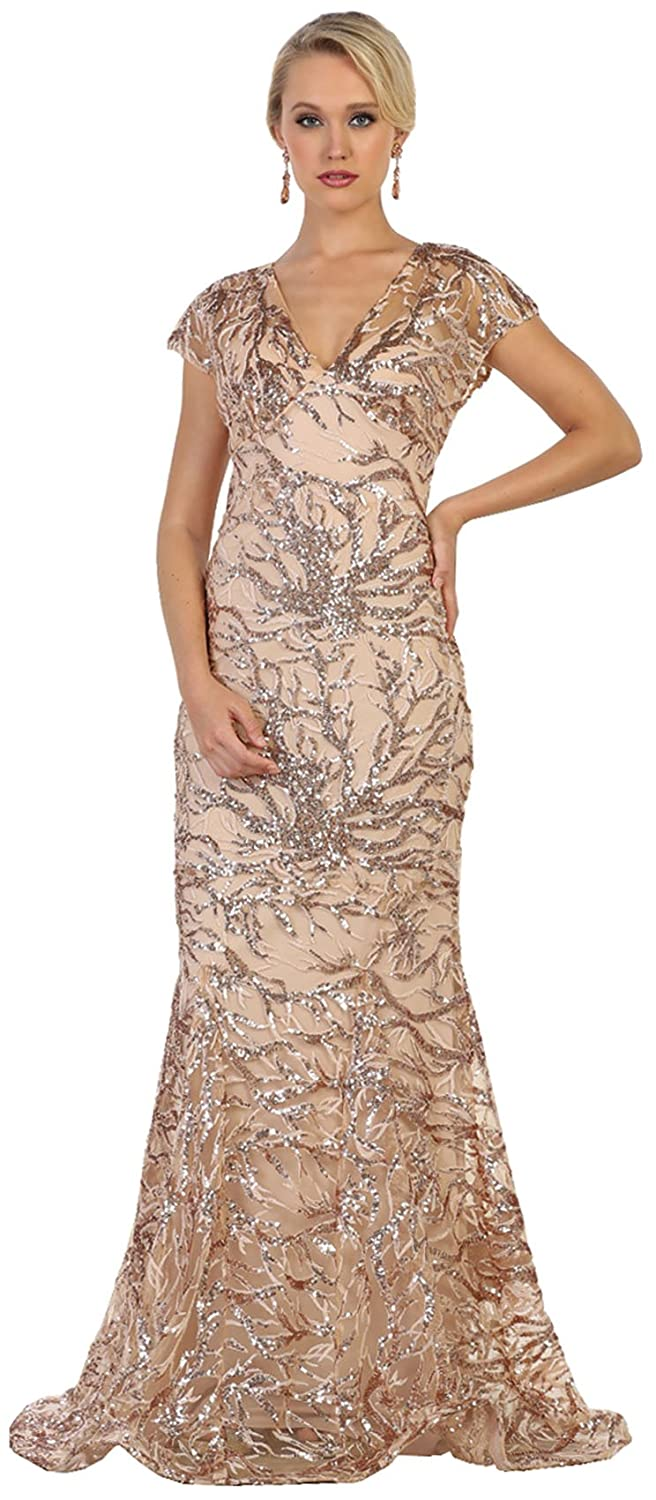 Taupe Formal Dress Shops Inc Royal Queen RQ7585 Modern Mother of The Bride Plus Size Dress