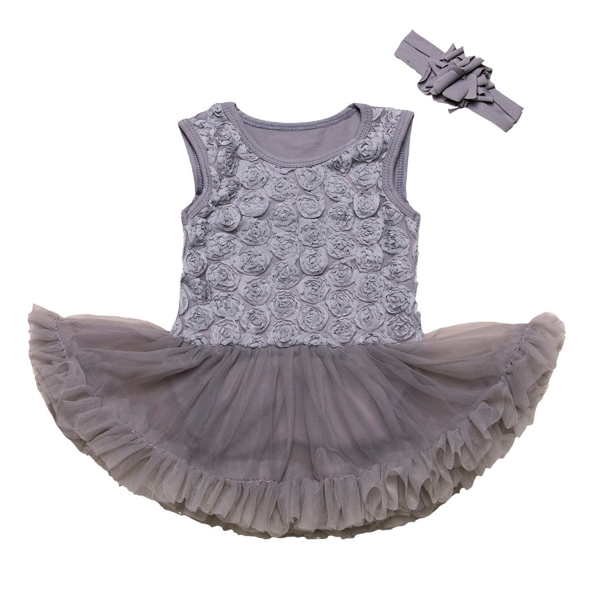 Mornyray 2 Pieces Baby Girl's Solid Color Rose Tutu Dress Sleeveless with Headband