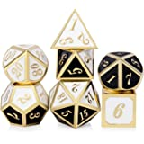 Double Color DND Metal Dice Set, Heavy Polyhedral Dungeons and Dragons Playing Dice for Table Game(Black and White with Gold Number)