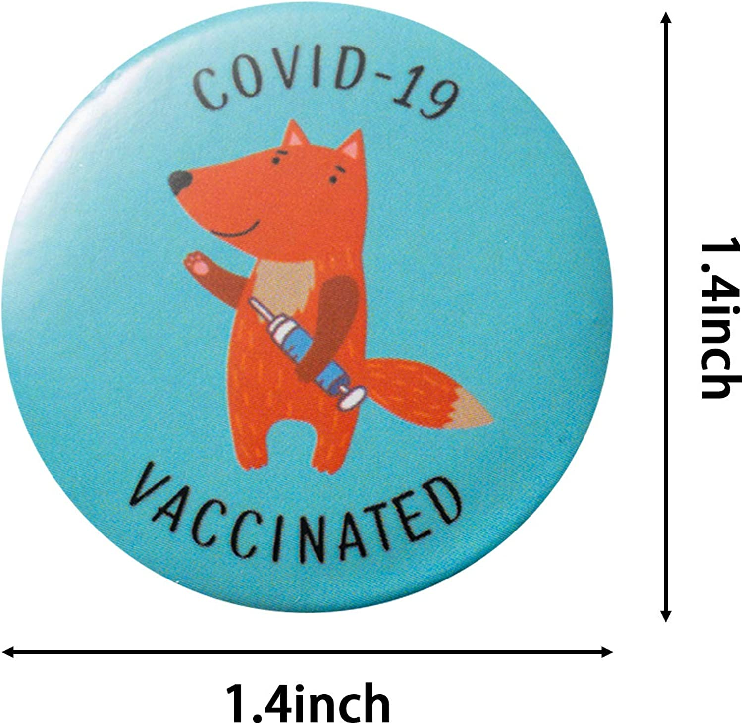 12Pcs Vaccine Button Pins with Cartoon Animals Covid-19 Vaccinated Recipient Notification CDC Encouraged Public Health and Clinical Pinback Button Badges Vaccinated for Virus Pin 6 Styles