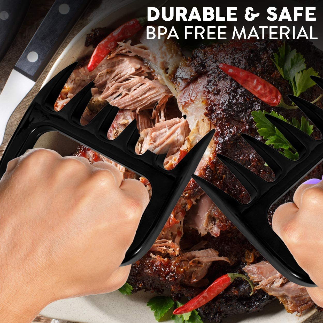 B07RM5S2TJ Kaluns Meat Claws, Best Meat and Pulled Pork Shredder Easily Lift, Handle, Pull, Cut, and Shred Meat - Ultra-Sharp Plastic Blades - Heat Resistant, BPA Free, FDA Approved, Dishwasher Safe 61wWBqWGjCL