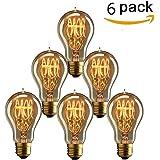 KINGSO 6 Pack E27 Edison Ampoules à Incandescence Vintage Lampe Filament A19 40W 220V Blanc Chaud Idéal pour Nostalgie et Eclairage Antique