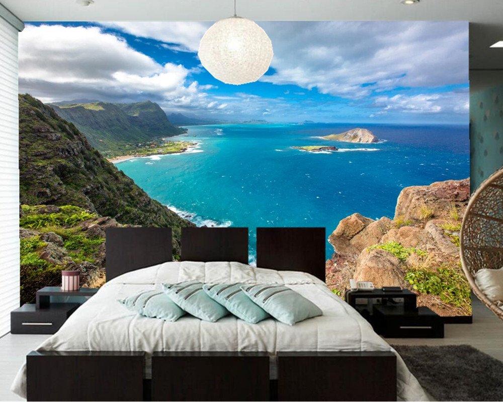 Yosot 3d Benutzerdefinierte Wandbilder, Tropen Landschaft Küste Sky Hawaii Wolken Crag Natur Tapete, Wohnzimmer Schlafzimmer Sofa Tv Tapete-450Cmx300Cm