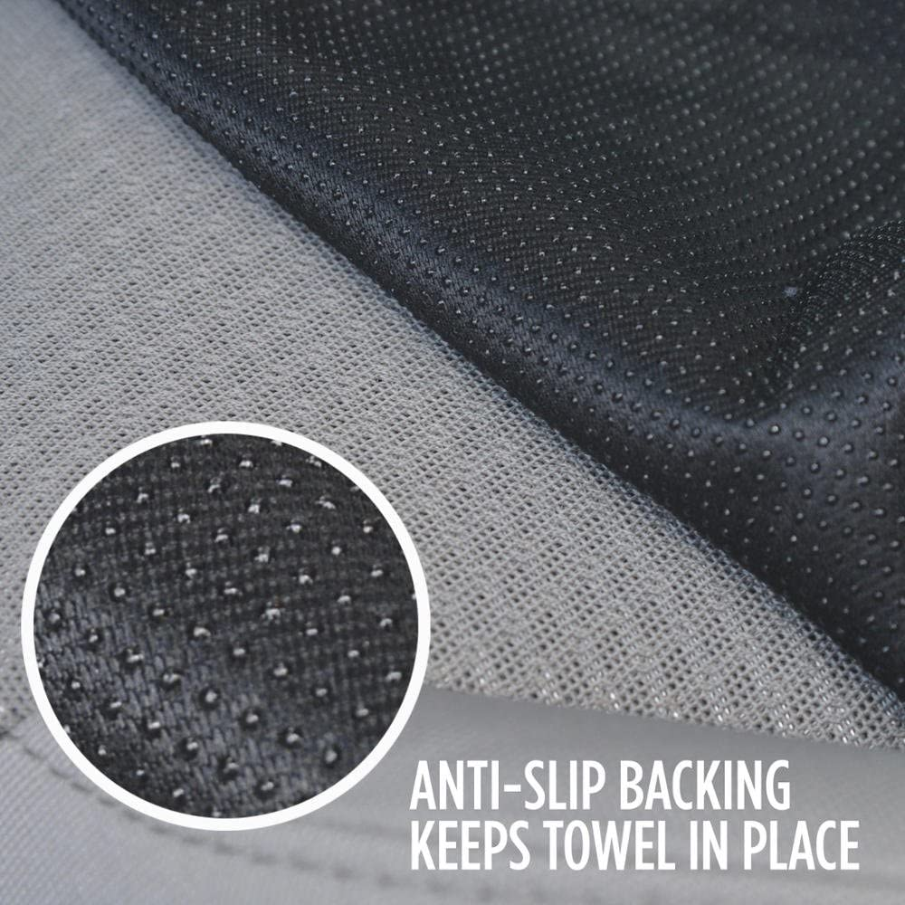 BDK 2P-ST-002 UltraFit Sweat Towel Auto Car Cover for Yoga Running Crossfit Workout Athletes-Waterproof Machine Washable-Beach Swimming Outdoor Sports Seat Protector 2 Piece Gray