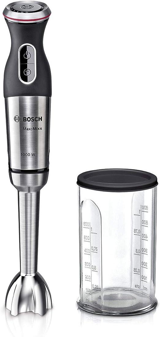 1000 W Con c/úpula antisucci/ón Bosch MaxoMixx Batidora de Mano Con 1 accesorio 12 Velocidades Acero Inoxidable