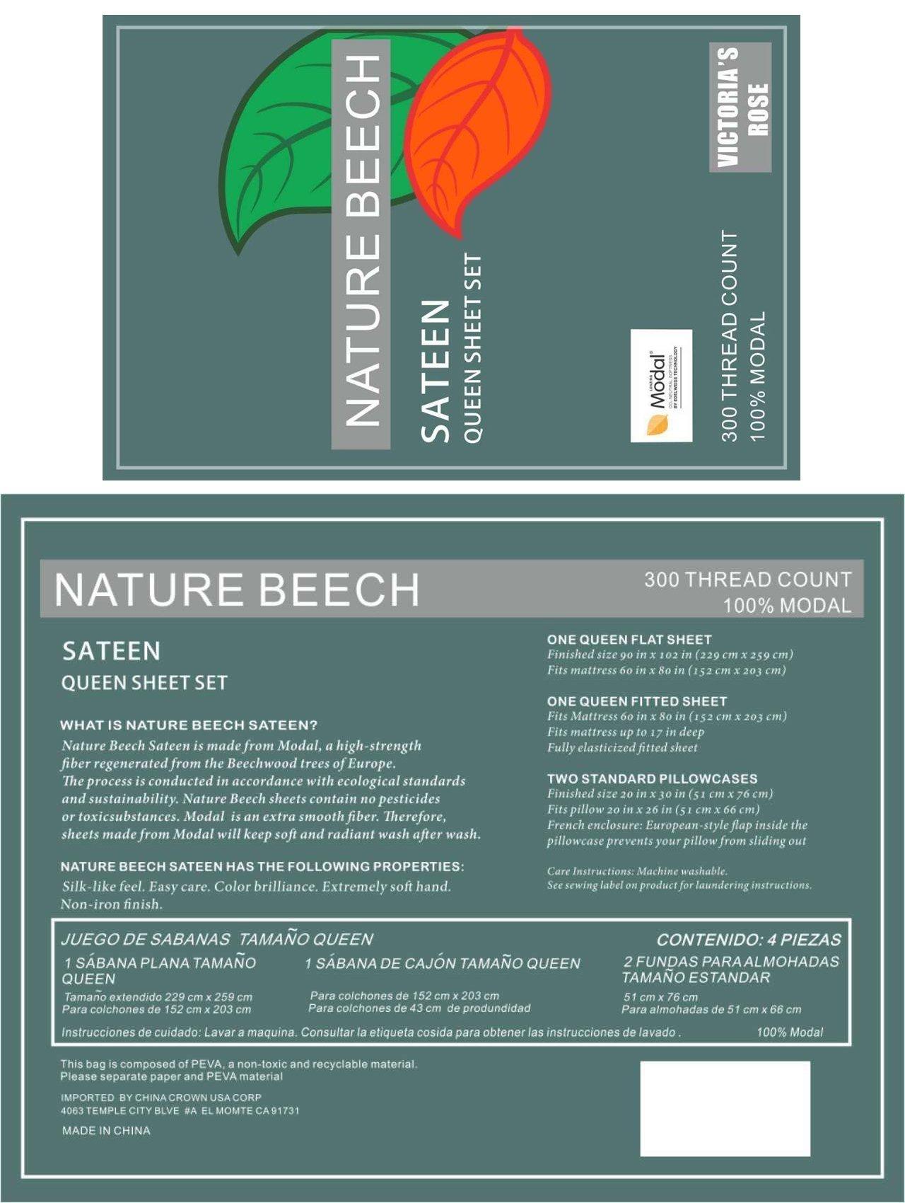 Lenzing Modal 4-Piece Ultra Soft Bed Sheet Set, Nature Beech Sateen Weave - Queen Size