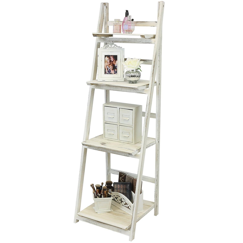 Kitchen shelves light blue jpg w 220 amp h 220 amp q 85 - Hartleys 4 Tier Folding Ladder Shelf White Wash