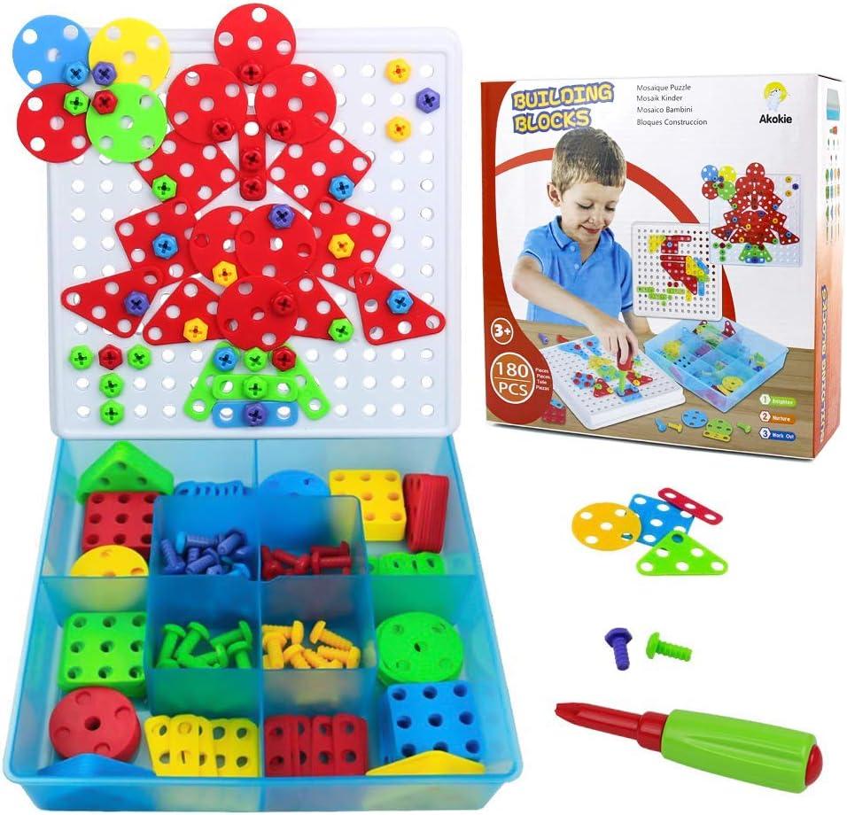 Akokie Herramientas de Juguete 2D Puzzles Construcciones para Niños 180 Piezas con Destornilladores Juguetes Montessori Juego Educativo de Regalo para Niños 3 4 5 años