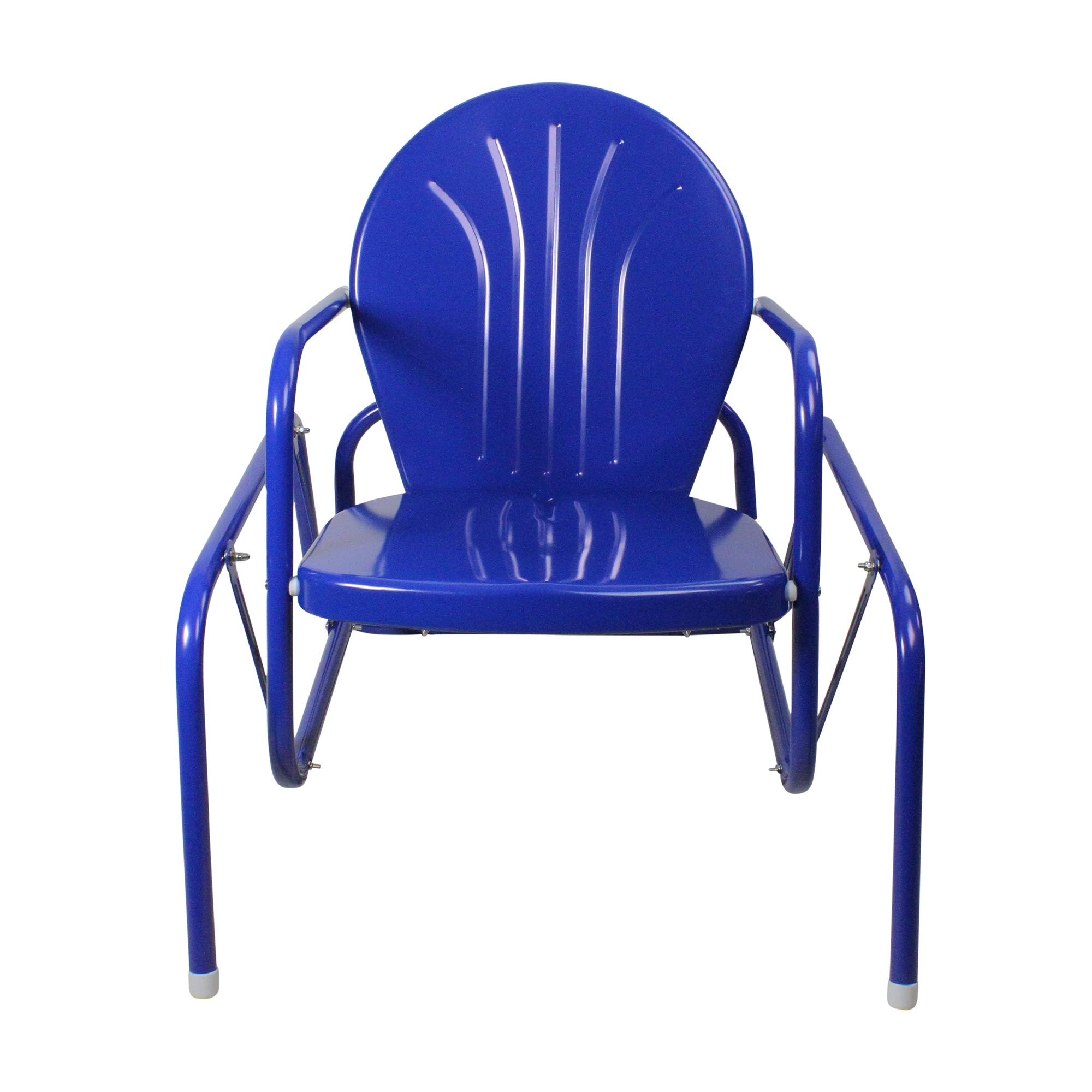 LB International 34'' Electric Blue Retro Metal Tulip Outdoor Single Glider by LB International