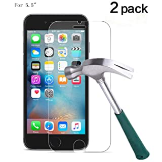 TANTEK 2-Piece 3D Touch Anti-Bubble and HD Clear Tempered Glass Screen Protector for iPhone 6/6S Plus