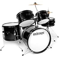 Mirage JDK 5 Piece Junior Drum Kit With Stool and Sticks - Black
