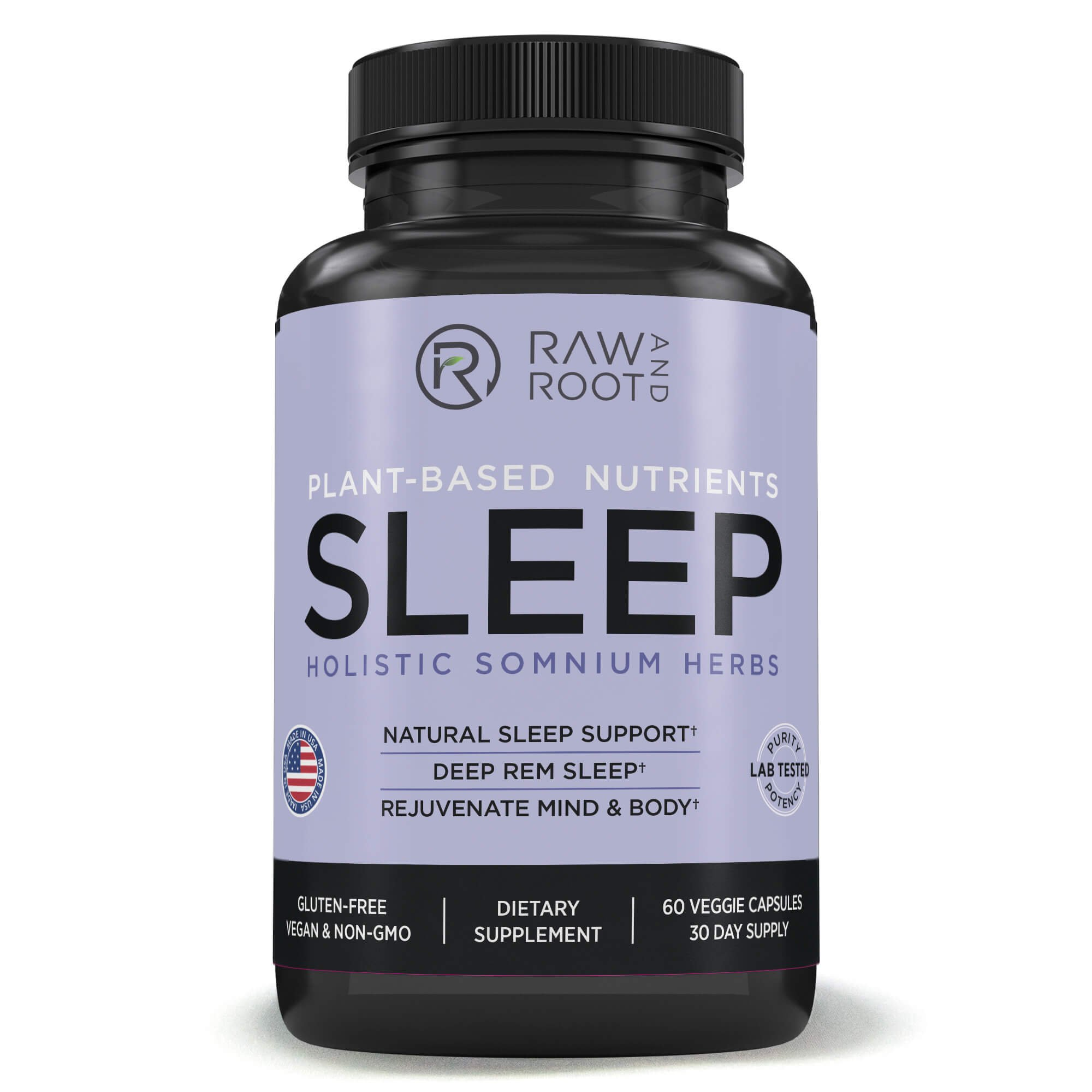 Sleep (Holistic Somnium Herbs) - Valerian and Other Natural Sleep Aid Herbs for Deep Sleep & Insomnia Relief - Dietary Supplement - 60 Vegetarian Capsules - by RAW AND ROOT
