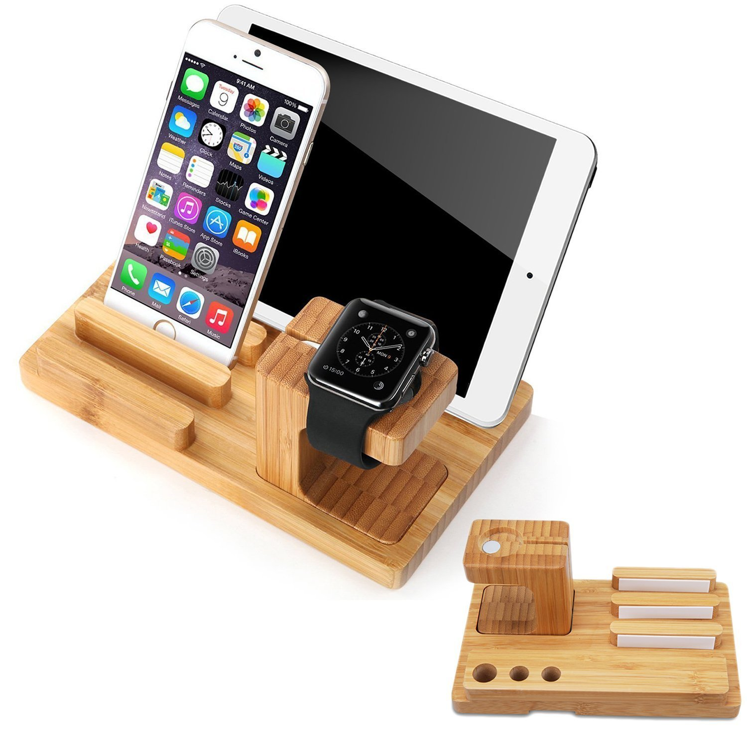 SPLAKS Apple Watch Stand Bamboo 7 in