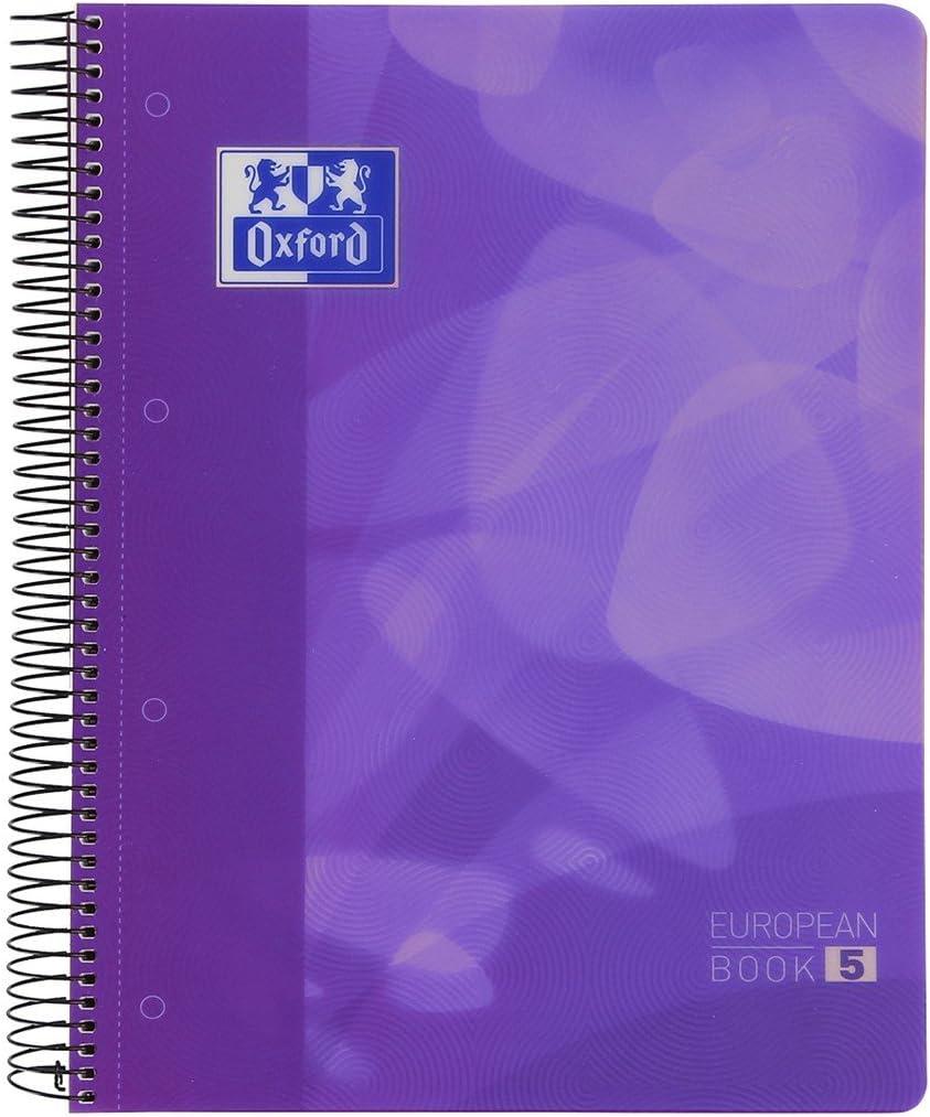 Cuaderno Espiral OXFORD Lagoon EB5, Din-A4 120H Tapa Plástico Cuadrovías 5 mm. Lila: Amazon.es: Oficina y papelería