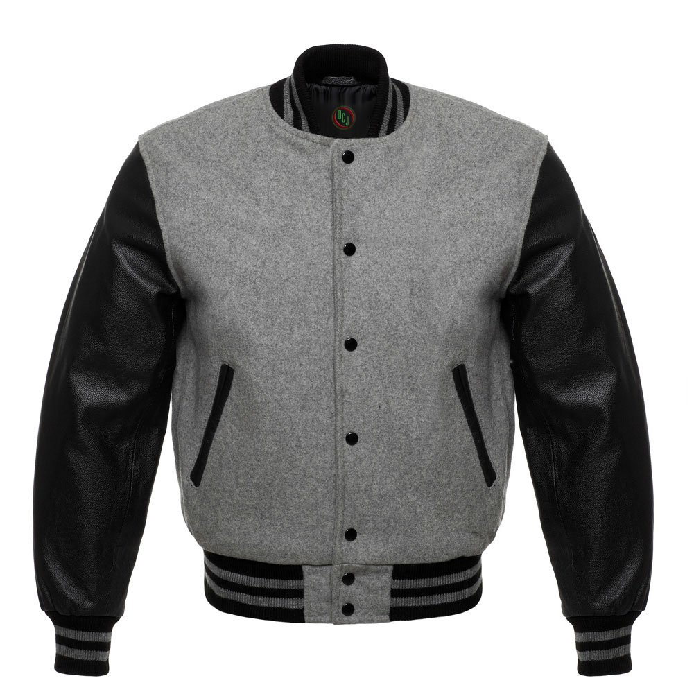 Design Custom Jackets Letterman Baseball Varsity Jacket Black Leather Sleeves