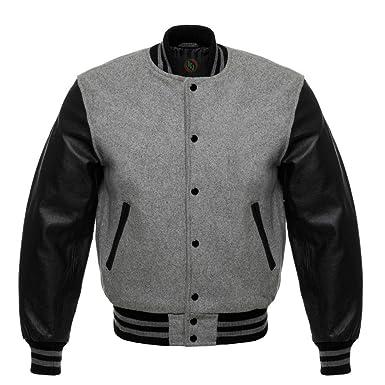 2bbd63d91 Design Custom Jackets Letterman Baseball Varsity Jacket Black Leather  Sleeves (XS)