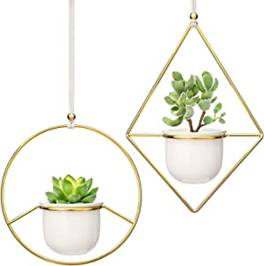 "Mkono 2 Pcs Mini Hanging Planter Vase Set, 3.5"" White Ceramic Plant Pot with Gold Metal Geometric Plant Hanger Modern Window Ceiling Planters for Small Succulent Cactus Herb Air Plant (Pots Included)"