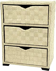 Oriental Furniture Natural Fiber Chest of Drawers - Three Drawer - White