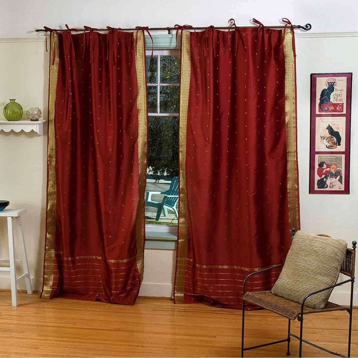 Indian Selections Lined-Rust Tie Top Sheer Sari Curtain Drape Panel – 80W x 120L – Piece