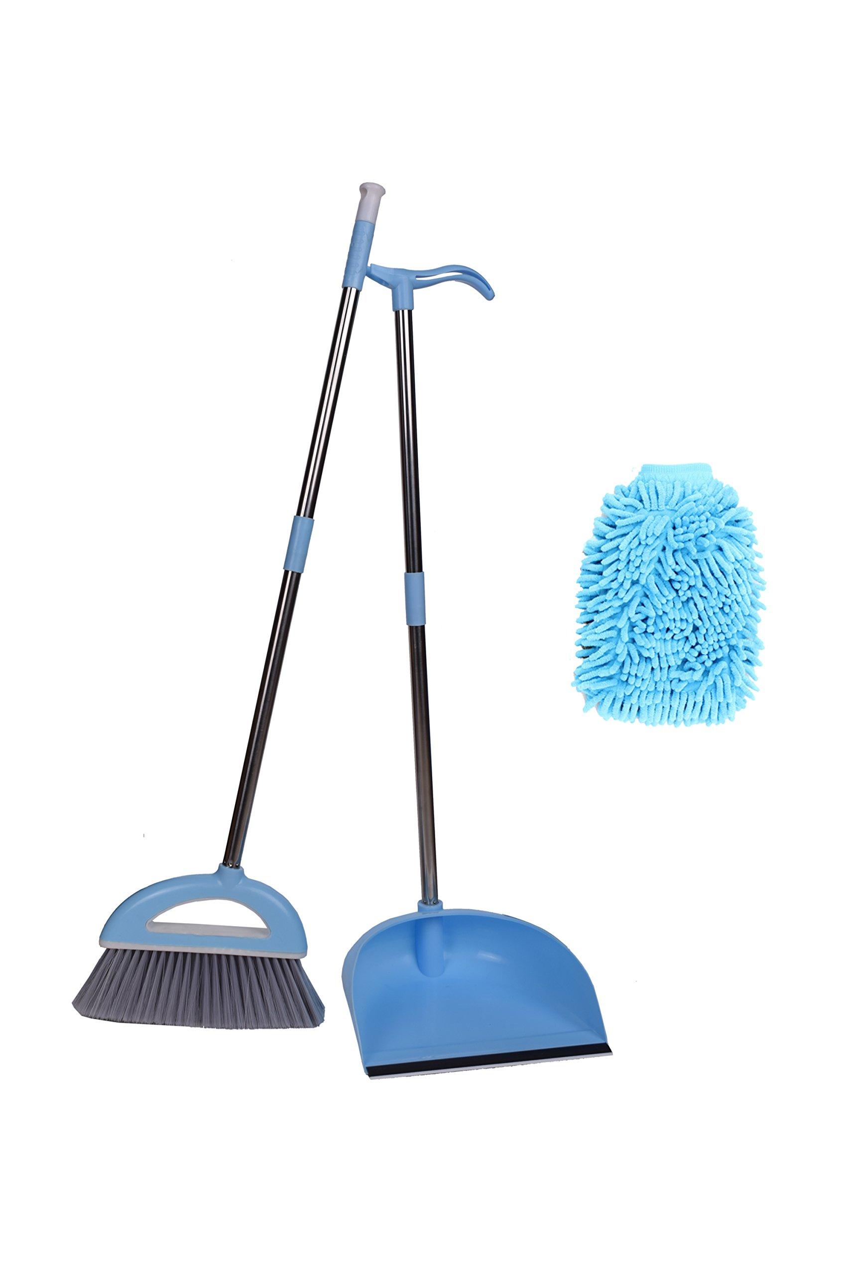 Xifando Good Grips Sweep Set, Broom&Dustpan&Cleaning Mitt