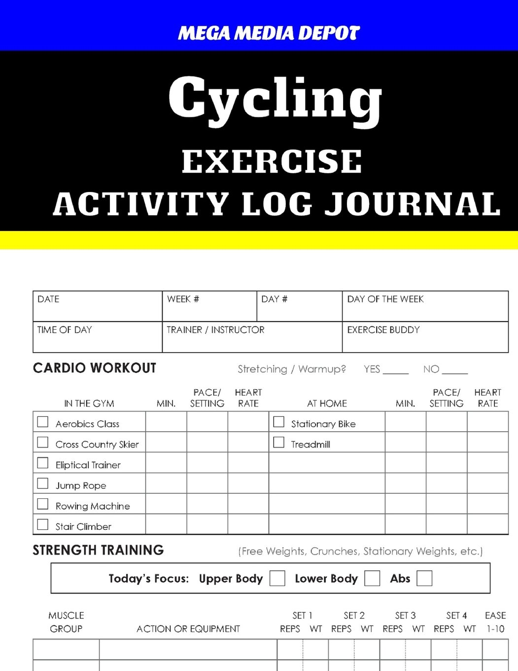 Cycling Exercise Activity Log Journal ebook