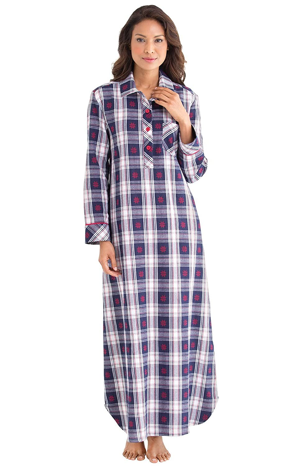 low-cost PajamaGram Women\'s Blue and Red Snowfall Plaid Flannel Gown ...