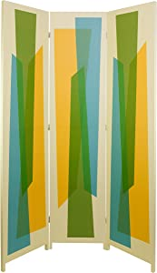 """Kiera Grace kieragrace Austin Vance 47"""" by 71"""", Three Panel, White with Multicolored Pattern Wooden Room Dividing Screen, Mid Century Abstract"""
