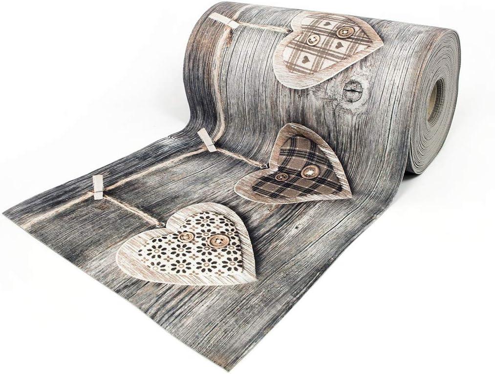 BIANCHERIAWEB Tappeto Passatoia Antiscivolo con Stampa Digitale Disegno Cuori Appesi 50x280 Cuori Appesi